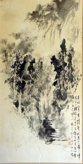 Chinese Painting Depicting Two Figures On A Mountain