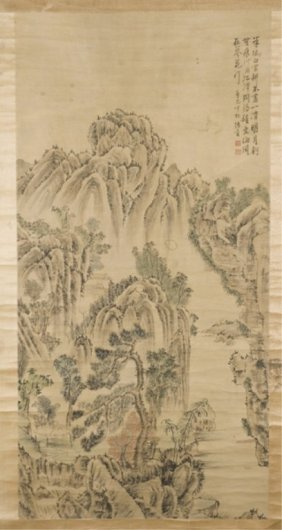 Chinese Painted Scroll Of A Mountain Landscape