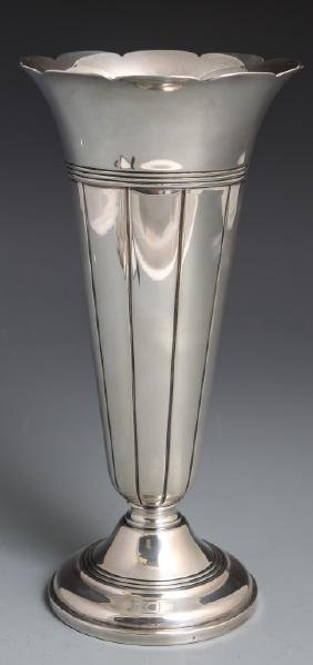 GORHAM STERLING SILVER FLUTED WEIGHTED VASE