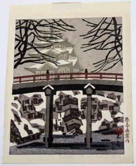 OKIIE HASHIMOTO SNOW SCENE WOODBLOCK PRINT