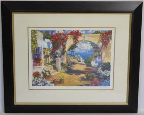 Julian Askins Coast View Signed Serigraph Framed