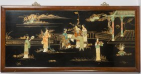 Chinese Stone Inlay Lacquer Wood Panel