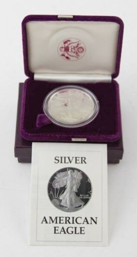 1987 Proof Us Silver Eagle With Box & Papers