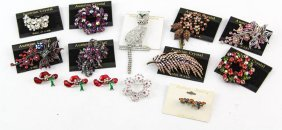 Lot Of Costume Jewelry Austrian Crystal Brooches