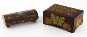 Lot Of Two Asian Cloisonne And Wooden Boxes