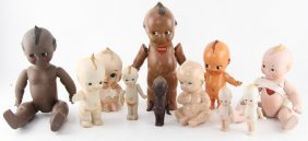 Lot Of Eleven Porcelain & Resin Kewpie Dolls