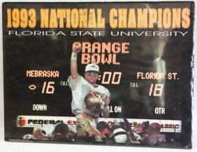 Scott Bentley Signed 1993 Championship Fsu Poster