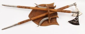 Carved Wood Axe & Scabbard Pair On Wall Mount