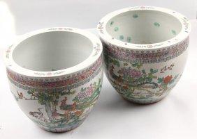 Pair Of Ceramic Koi Fish Bowls