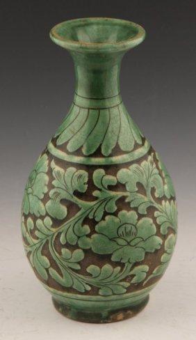 Green Glazed Chinese Stoneware Vase