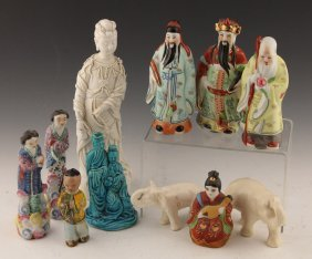 Lot Of Mixed Asian Figural Porcelain Pieces