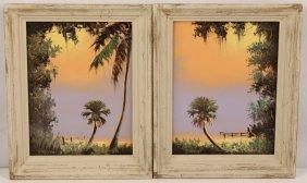 Lot Of 2 Tracy Newton Florida Artist Oil On Board
