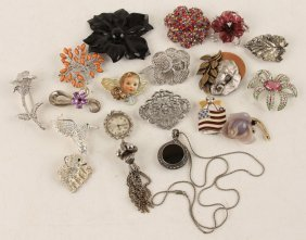 Mixed Lot Of Ladies Silver Tone Costume Jewelry