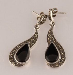 Ladies Pair Sterling Silver & Enamel Earrings