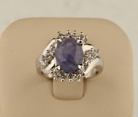 Sterling Silver 1.7ct Oval Tanzanite Cz Ring
