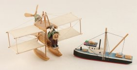 Wooden Model Plane And Boat