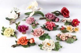 12 CAPODIMONTE PORCELAIN FLOWERS