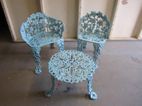 Pair Cast Iron Grapevine Patio Chairs And Table
