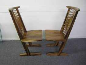 Pair Walnut Conoid Chairs Nakashima Style