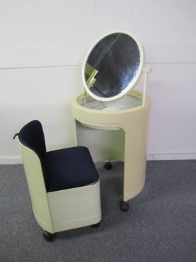 Unique 60's Mod Cylindrical Vanity And Chair