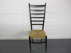 Gio Ponti Style Tall Ladder Back Dining Chair