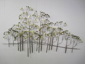 C.jere Brass Raindrops Forest Trees Wall Sculpture