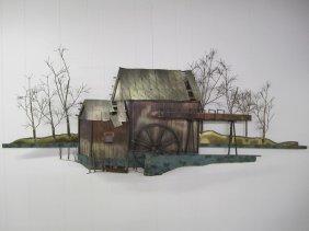 C.jere Metal Mill House Water Wheel Wall Sculpture