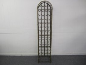 Woodard Style Tall Steel Arched Wine Rack