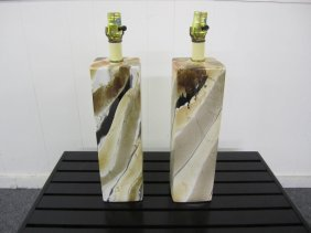 Lovely Pair Of Faux Marble Ceramic Glazed Lamps