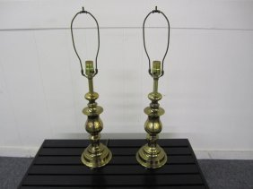 Nice Pair Of Solid Brass Regency Style Lamps