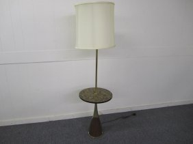 Danish Modern Style Laurel Brass Table Floor Lamp
