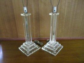 Regency Modern Stack Lucite Column Lamps