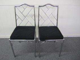 Pair Milo Baughman Style Chrome Bamboo Side Chairs