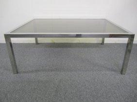 Large Milo Baughman Style Chrome Glass Coffee Table
