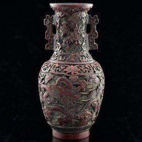 Kangxi Lacquerware Dragon Vase