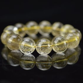 Rutilated Quartz Crystal Bead Bracelet
