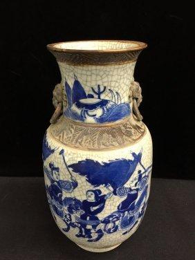 Ming Mark Crackle Blue And White Porcelain Vase