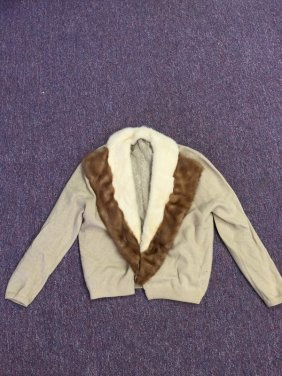 Vintage Knitwear Womens Coat With Fur Collar