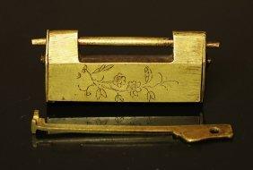 China. Brass Padlock Ornate With Flower