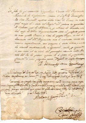 Manuscript 1758 Naples Signature Of Bishop De Rosa
