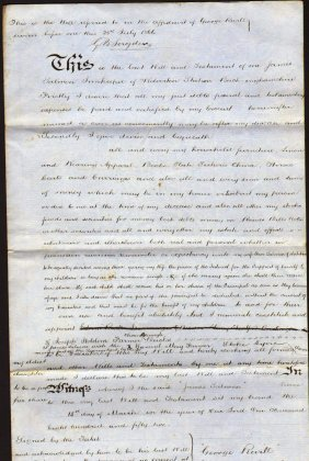 England. Buckingham. 1852. Manuscript Will