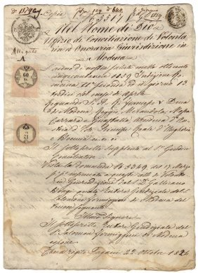 Duchy Modena 1859 Signs Borsani Minister & Ambassador