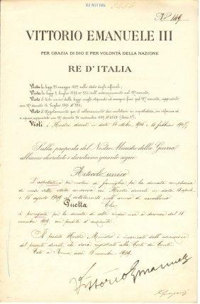 Rome 1909 Signature King Vittorio Emanuele Iii