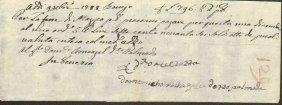 Ancient Payment Receipt 1788 Republic Of Venice