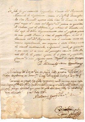 Manuscript 1758 Naples Signature Of Bishop De Rosa