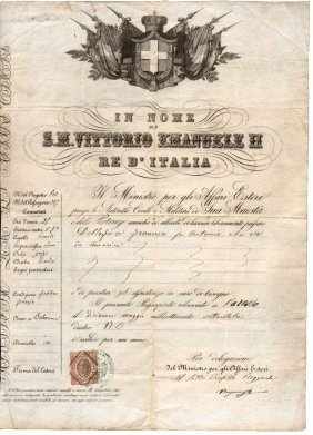 Kingdom Italy 1873 Passport Under Vittorio Emanuele Ii