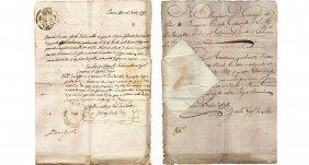 1792 Manuscript Embassy 2 Sicily Kingdom Consul Silva