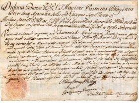 Ancient Ecclesiatical Manuscript 1763 Bishop Dry Seal