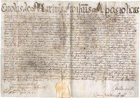 Rome 1701 Pentagram Parchment Prothonotary C De Marinus