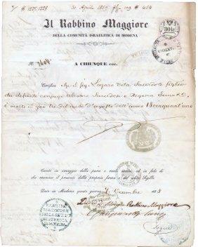 Verona 1858 Signs Chief Rabbi David Zechut&ministers